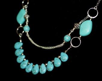 Turquoise necklace Tibetan style Turquoise Beaded Necklace Silver and Turquoise Necklace.