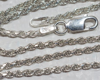 """Sterling Silver 18"""" Diamond Cut Rope Chain Italian Sterling Silver Jewelry Supplies"""