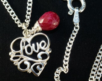 Ruby Jewelry Ruby Necklace Sterling Silver Heart Pendant Birthstone Jewelry