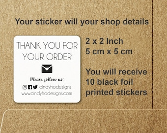 10 Thank You For Your Order Social Media Website Foil Printed Stickers - Set of Ten