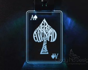 We're All Mad Here Playing Card LED or Regular Keychain - Alice in Wonderland, Typography