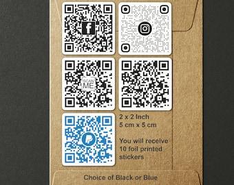 10 QR Code Foil Printed Stickers - Set of 10 - Instagram, Facebook, Website, Paypal