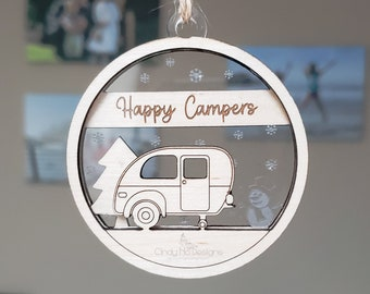 Happy Camper Layered Wood and Acrylic Christmas Ornament