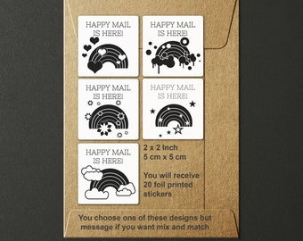20 Rainbow Happy Mail Foil Printed Stickers - Set of 20