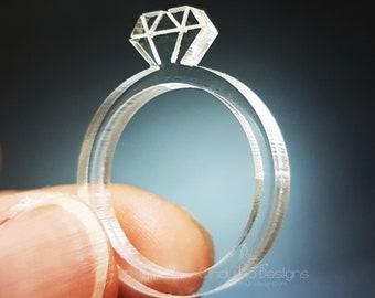 Acrylic Diamond Laser Cut Statement Ring: Diamonds are a Girls Best Friend