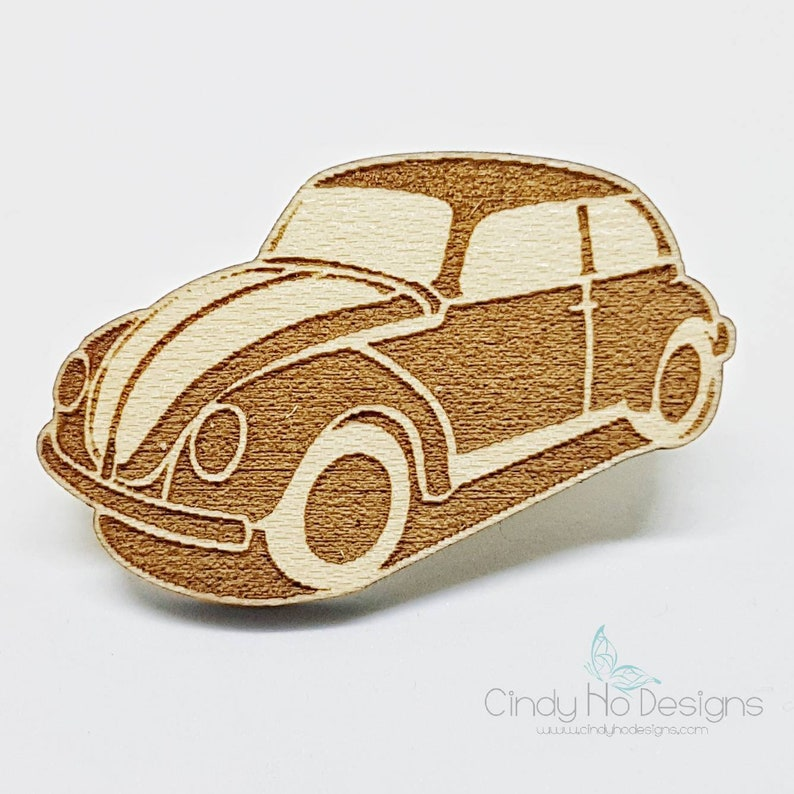 Hippy Beetle  Car Wood Pin or Magnet  Laser Cut image 0