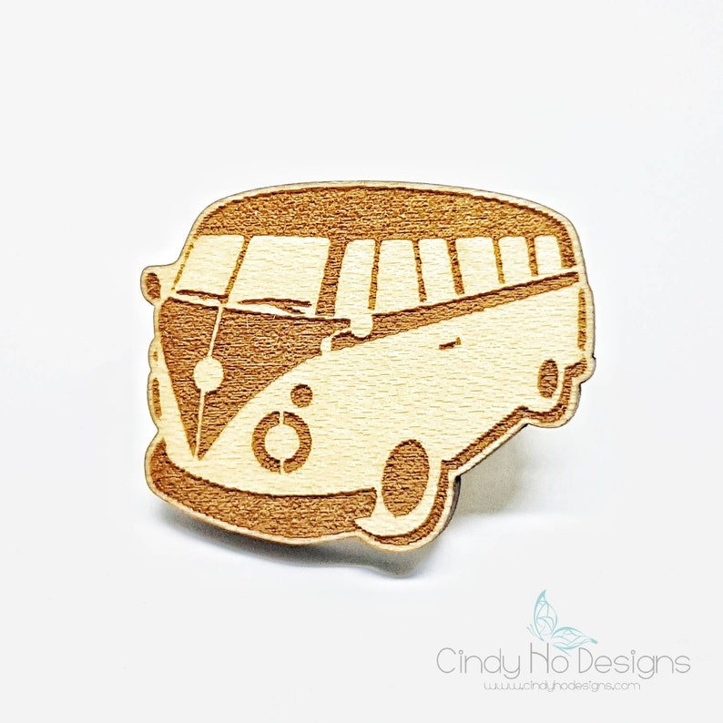 Hippy Van Wood Pin or Magnet  Laser Cut image 0