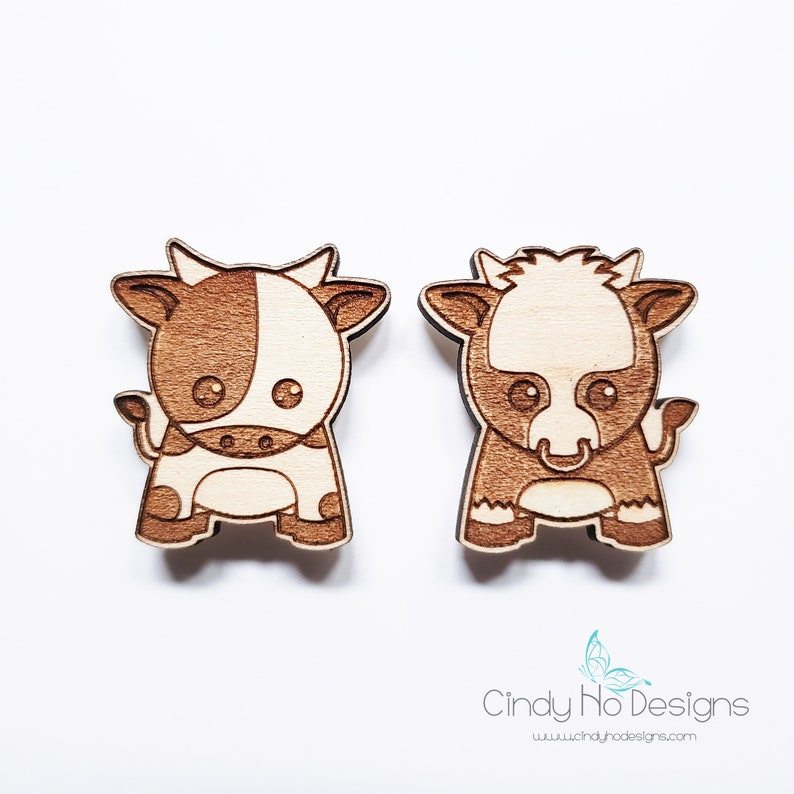 Cow or Ox Kawaii Laser Engraved and Cut Wooden Pin Magnet or image 0