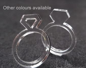 Hallow Diamond Acrylic Diamond Laser Cut Statement Ring: Diamonds are a Girls Best Friend