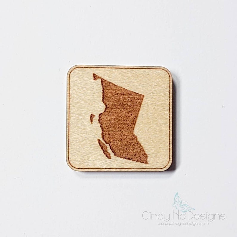British Columbia Province Wooden Pin or Magnet  Laser Cut image 0