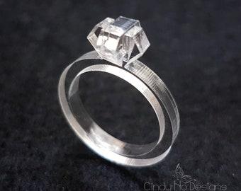 3D Small Acrylic Diamond Laser Cut Statement Ring: Diamonds are a Girls Best Friend