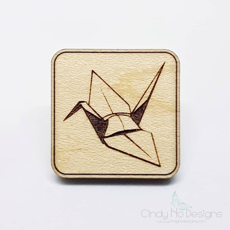 Origami Paper Crane Wood Pin or Magnet  Laser Cut image 0