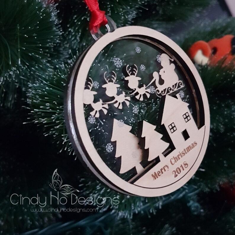 Santa and Reindeer Layered Christmas Ornament image 0