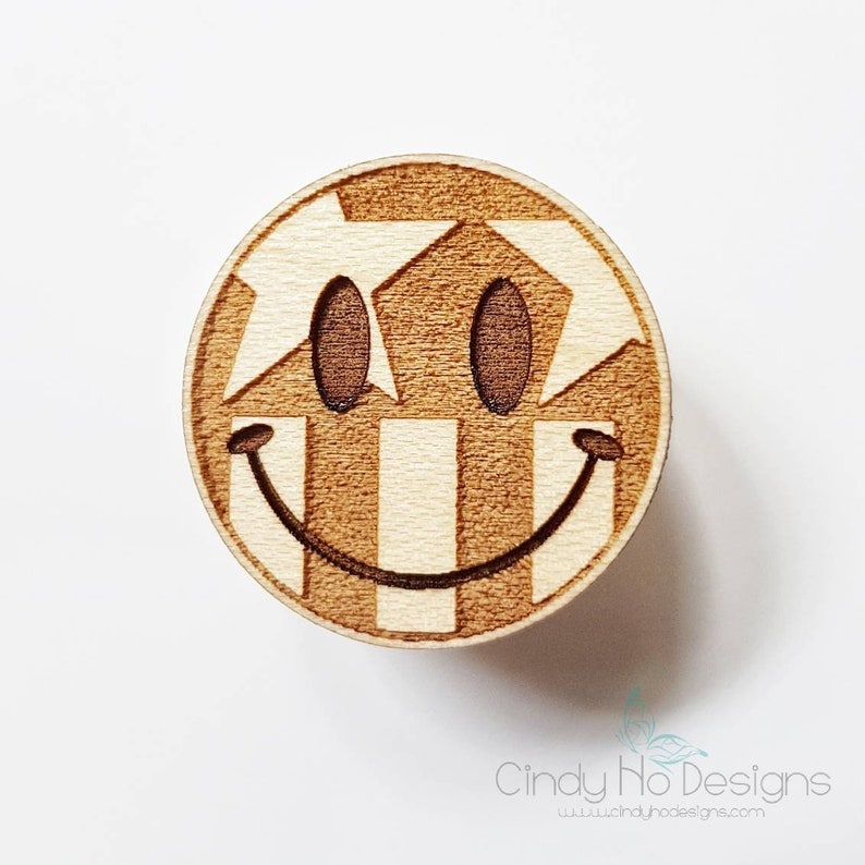 USA Smiley Emoji Wooden Pin or Magnet  Laser Cut United image 0