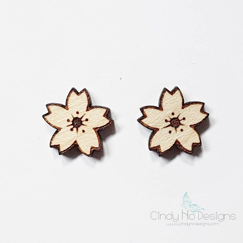 Sakura Cherry Blossom  Laser Cut Stud Earrings  Flower image 0