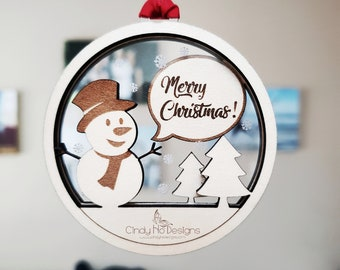 Snowman Speech Caption Layered Wood and Acrylic Christmas Ornament