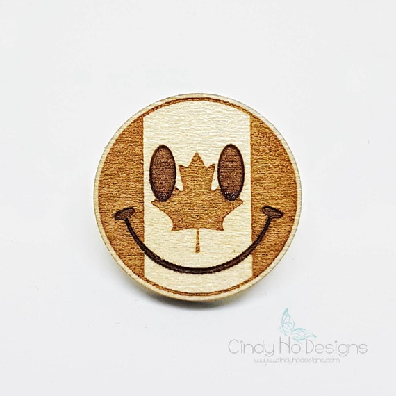 Canada Smiley Emoji Wooden Pin or Magnet - Laser Cut, Canadian