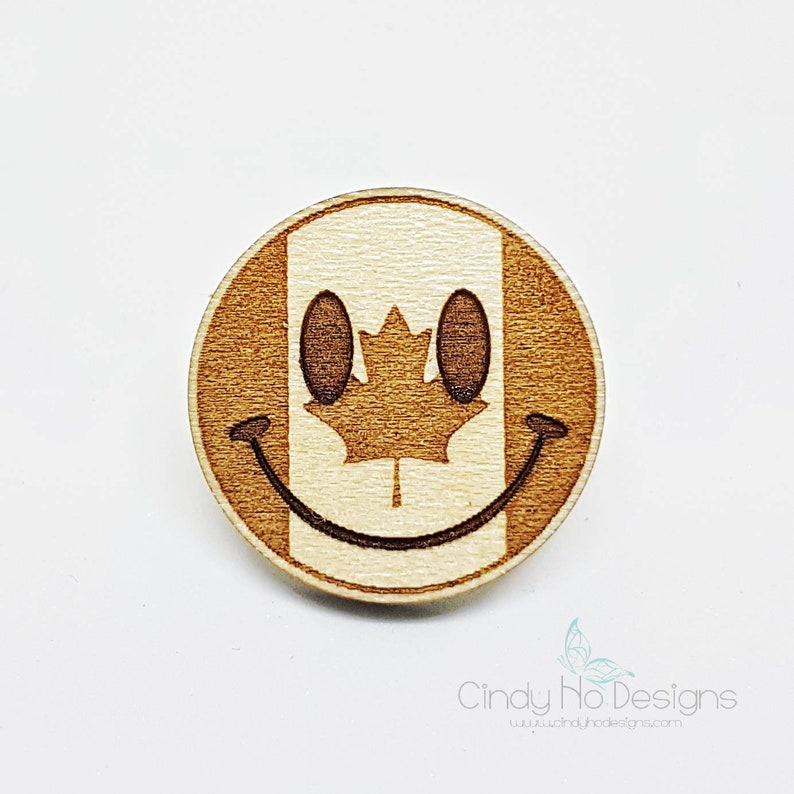 Canada Smiley Emoji Wooden Pin or Magnet  Laser Cut Canadian image 0
