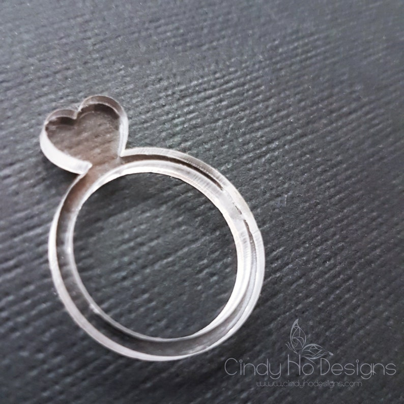 Acrylic Heart Laser Cut Statement Ring: Love you THIS much image 0
