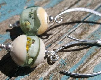 Glass & Silver Bud Earrings.  Lampwork Earrings  SRAJD FHFteam