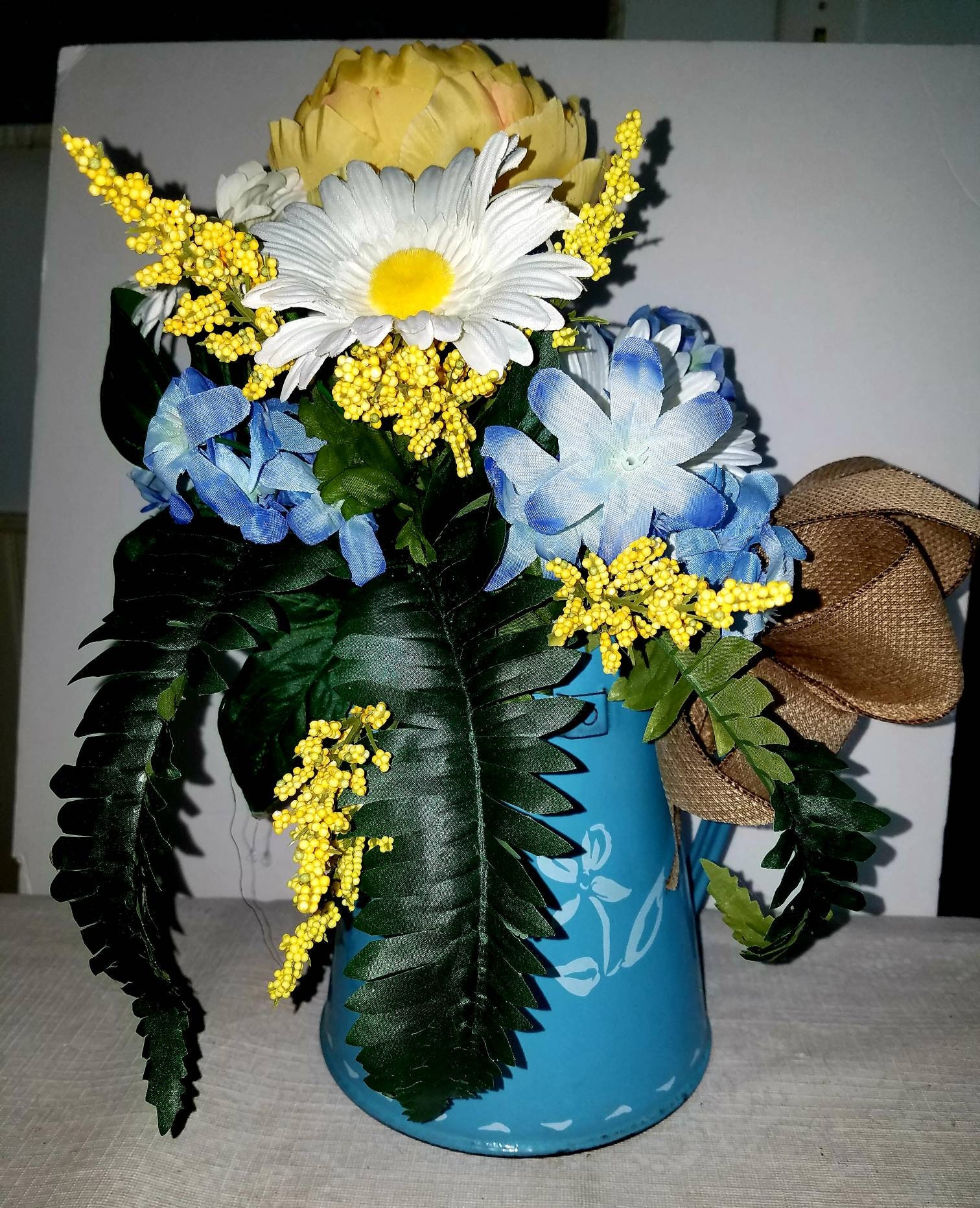 Yellow And Blue Silk Flower Arrangement In Vintage Coffeepot With