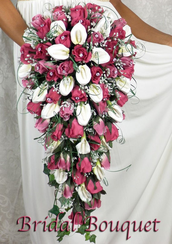 Fuschia Cascade Silk Flowers Babies Breath Roses Calla Lilies Etsy