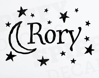 Personalized Name Wall Decal Moon Stars Vinyl Sticker Decor Sticker Custom Boy or Girl by Spiffy Decals