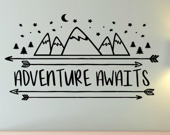 Adventure Awaits Wall Decal Vinyl Sticker Quote Travel With Arrow Mountains V5 by Spiffy Decals