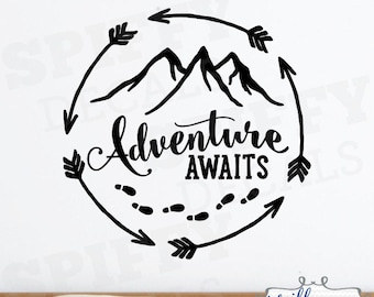 Adventure Awaits Circle Footprints Mountain Wall Decal Vinyl Sticker Quote Travel With Arrows