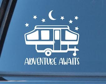 Adventure Awaits Pop Up Camper Car Laptop Vehicle Window Decal Vinyl Sticker Decor Quote Travel by Spiffy Decals