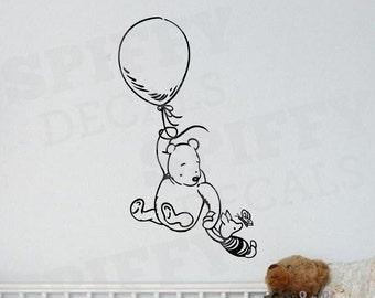 Winnie The Pooh Piglet Balloon Wall Decal Sticker Nursery Classic Winnie The Pooh Bear  Listing Stats Spiffy Decals