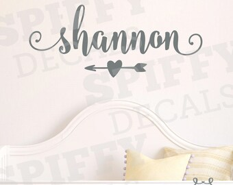 Name Custom Personalized Arrow With Heart Wall Decal Vinyl Sticker Decor Monogram For Girls