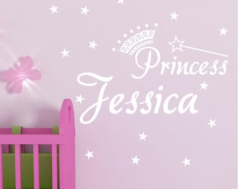 Princess Personalized Name With Crown And Stars Vinyl Wall Decal Sticker Custom Boys Girls Nursery