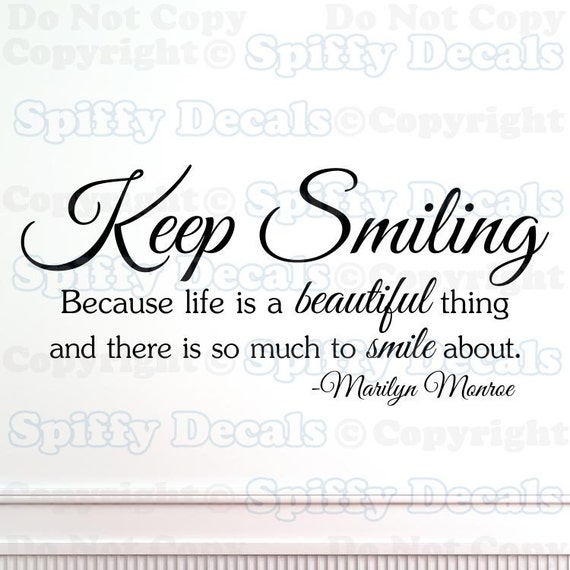 Keep Smiling Marilyn Monroe Wall Quote Etsy
