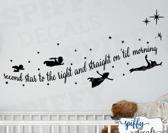 Peter Pan Tinkerbell Wendy John Michael Flying Second Star To The Right Wall Decal Vinyl Sticker Quote Walt Disney Theme Spiffy Decals