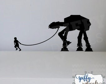 Boy Walking His Pet AT-AT  decal Wall Decal Vinyl Sticker Quote Star Wars Decor Spiffy Decals