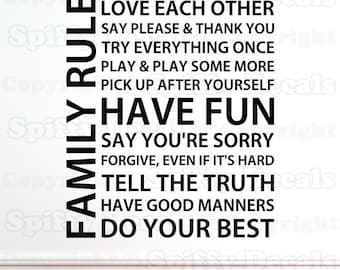Family Rules love play fun forgive vinyl wall quote