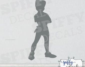 Peter Pan Silhoutte Custom Vinyl Wall Decal Decor Sticker Walt Disney Tinkerbell Spiffy Decals