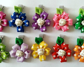 Free Shipping ~ Hair Accessories / Rainbow Hair Clip / Girl Hair Clip / Sakura Hair Clip / Dot Hair Clip / 10 Colors Available