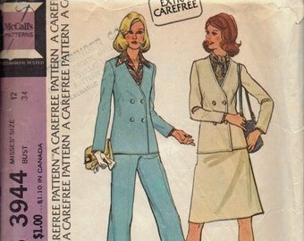 1970s Career Wear Pattern, Misses Suit Pattern, Double Breasted Jacket, Skirt, and Pants Pattern, Wide Leg Pants Pattern, Size 12 Bust 34