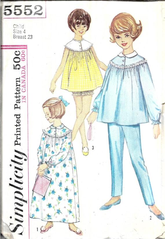 Vintage Girls Nightgown Or Pajamas Pattern Kids Old Fashioned Etsy New Pajama Pattern