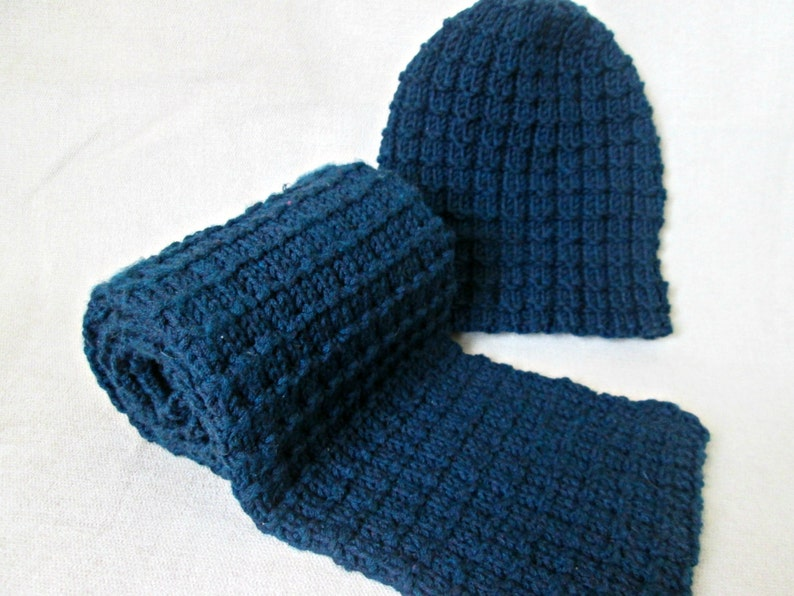 Mens Hat And Scarf Knitting Pattern Easy Hat And Scarf Etsy