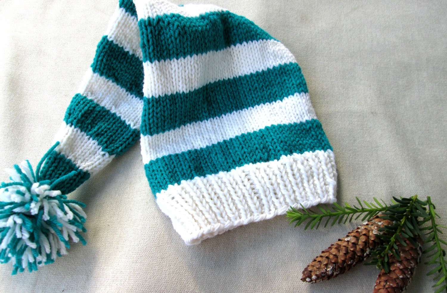 991385dcbf6855 Adult Stocking Cap White and Green Striped Elf Hat Knitted | Etsy