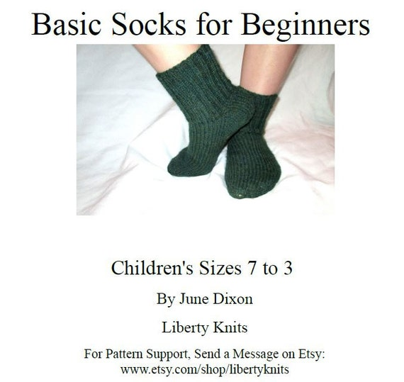 Easy Childrens Sock Pattern Basic Kids Sock Pattern For Etsy