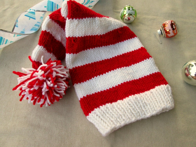 41564a8ed89 Red White Striped Adult Elf Hat Pom Pom Unisex Long Tail