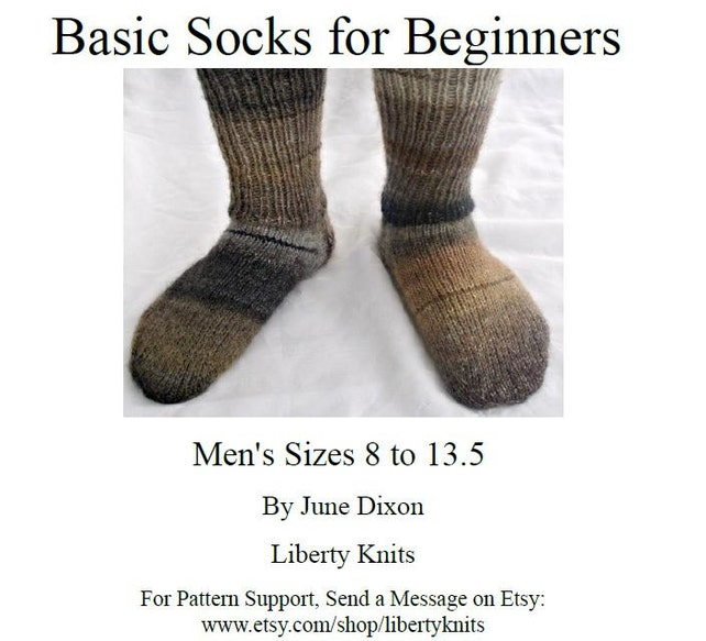 Basic Mens Sock Pattern Instant Download Basic Socks For Etsy