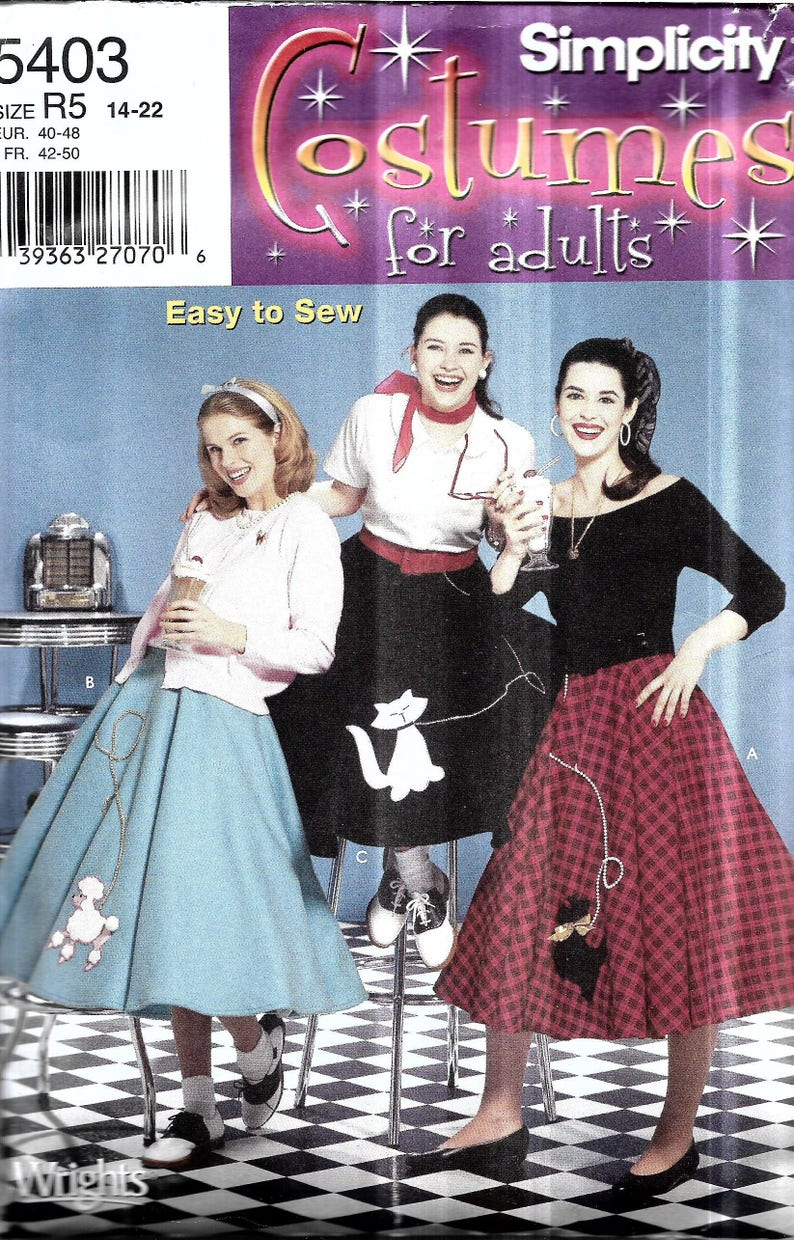 687b1c49a480 Womens Poodle Skirt Pattern Bobby Soxer Costume Pattern | Etsy