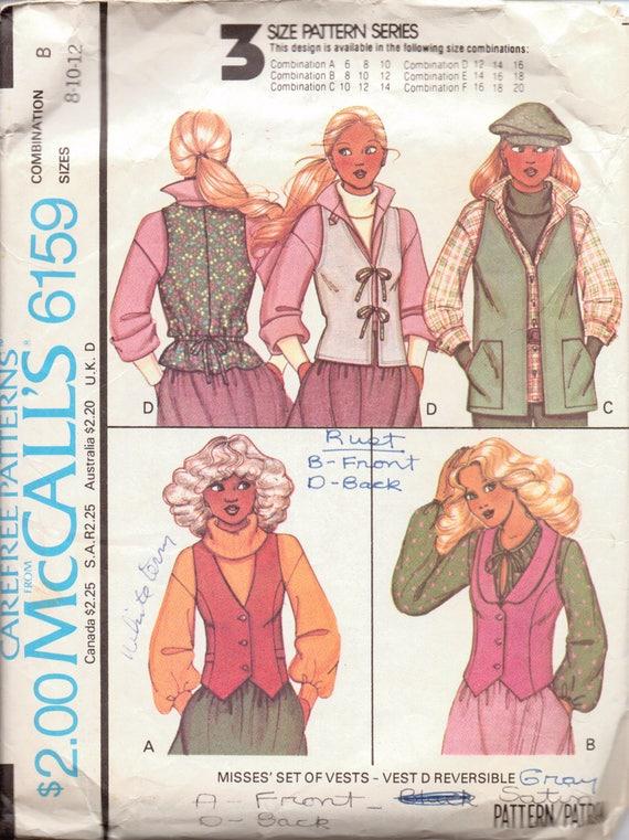 Vintage Ladies Vest Pattern Buttoned Vest With Welts Etsy Awesome Vest Patterns