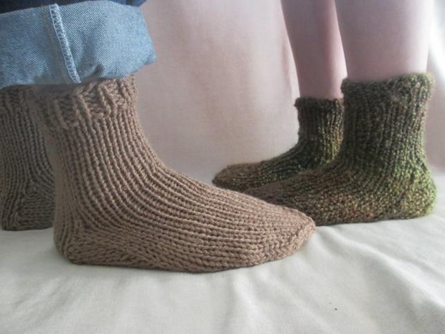 Slipper Socks Knitting Pattern Chunky Knit Socks Pattern Etsy