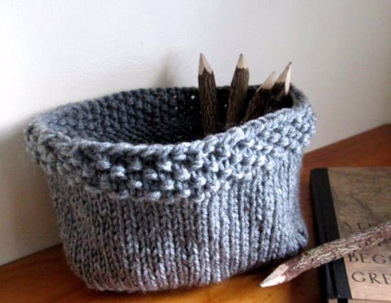 Knit Basket Pattern Knitted Bowl Pattern Diy Knit Basket Etsy